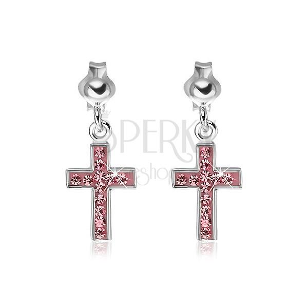 Bedugós 925 ezüst fülbevaló - rózsaszín kereszt cirkóniákkal