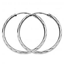 Karika fülbevaló ezüstből - három sor mélyedés, 30 mm