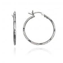 Ezüst karika fülbevaló - vésetek, indián motívum, 30 mm
