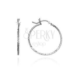 Fülbevaló, ezüst karika - szögletes vonal magocskákkal, 25 mm