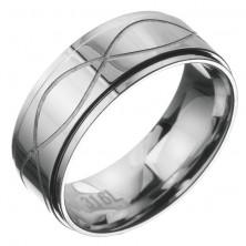Orvosi fém gyűrű - karika két bemart hullámmal