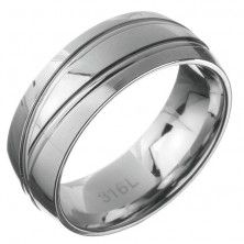 Gyűrű acélból - két bemart vonallal díszített karika