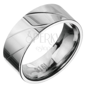 Acél karikagyűrű - átlós vésetek