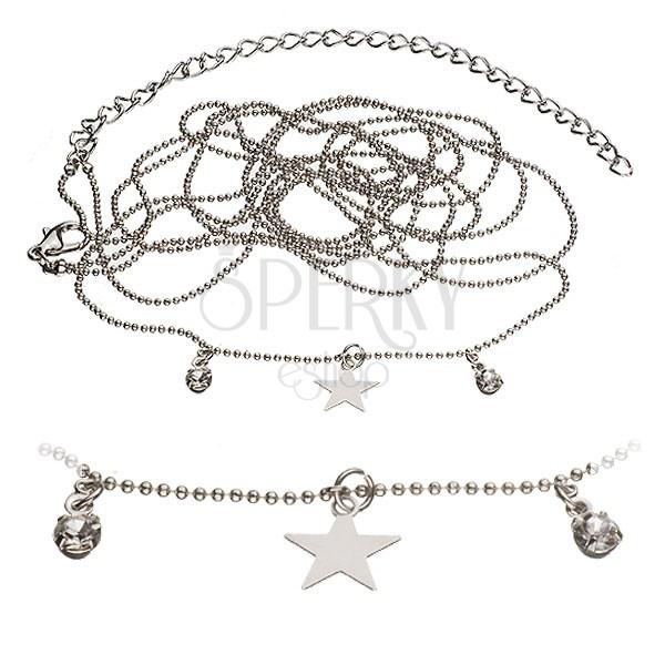 Belly Chain, kettős golyós lánc - csillag és kövek