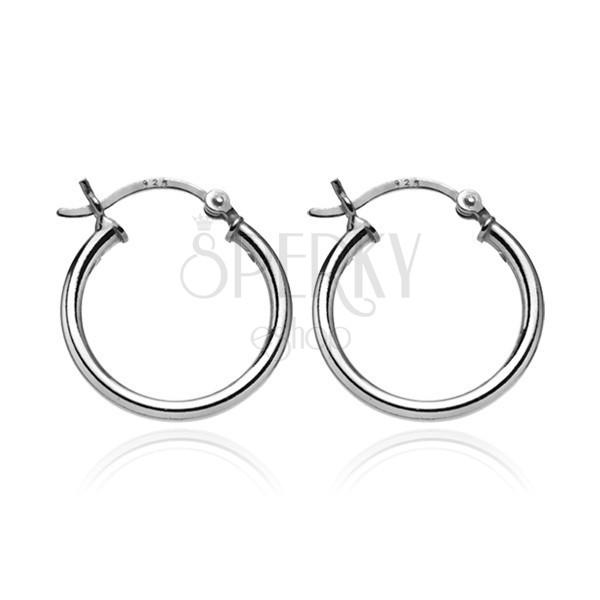 Ezüst karika fülbevaló - egyszerű dizájn, 16 mm