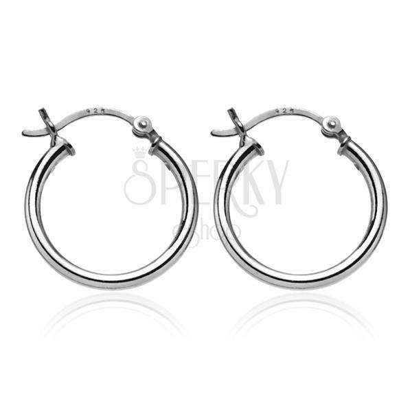 Ezüst karika fülbevaló - egyszerű sima felület, 20 mm