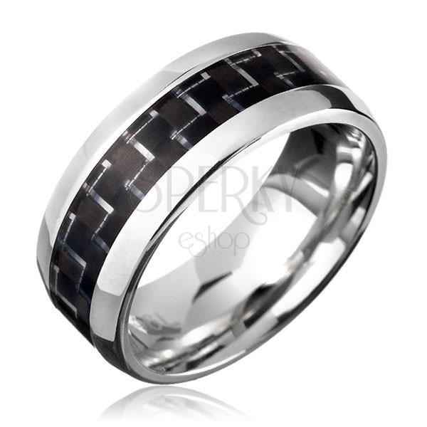 Nemesacél gyűrű - fekete karbonszálak