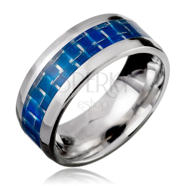 Gyűrű nemesacélból - kék sáv, karbonszálas hatás