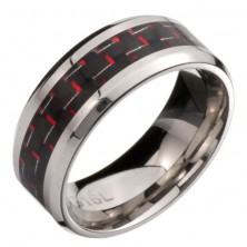 Nemesacél gyűrű - fekete és piros karbonszálak