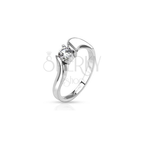 Gyűrű nemesacélból - tiszta kerek cirkónia hullámzó karok között