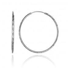 Ezüst fülbevaló - karika ovális bevágásokkal, 36 mm