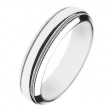 Fényes ezüst karikagyűrű - két gravírozott sáv