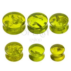 Piercing a fülbe - plug, zöld gyanta imitáció