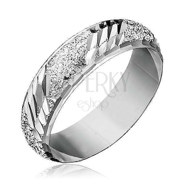 925 ezüst gyűrű - szemcsés felület ferde bemarásokkal