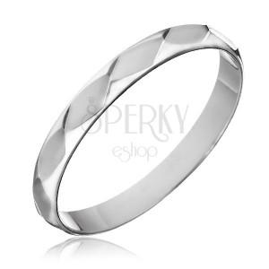 Gyűrű 925  ezüstből- fényes rombusz csiszolások