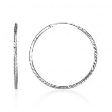 Ezüst karika fülbevaló - vékony felület vájatokkal, 30 mm