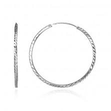Kerek fülbevaló 925 ezüstből - gravírozott búzaszemek, 40 mm