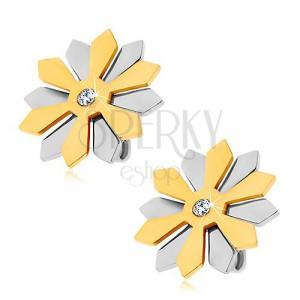 Acél fülbevaló - virág arany és ezüst szirmokkal, cirkónia