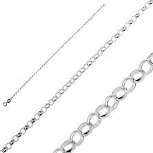 925 ezüst karlánc - fényes, karika láncszemek
