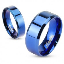 Minőségi acél gyűrű - kék, egyenes felület, 6 mm