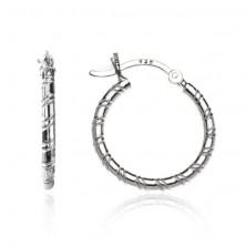 Fülbevaló 925 ezüstből - karika spirál bevágásokkal, 20 mm