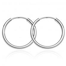 925 ezüst fülbevaló - sima fényes karika, 22 mm