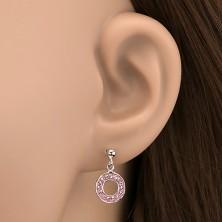 Bedugós ezüst fülbevaló - függő karika rózsaszín kövekkel