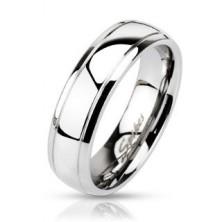 Acél karikagyűrű két gravírozott sávval