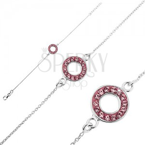 Ezüst karkötő - karika rózsaszín cirkóniákkal díszítve