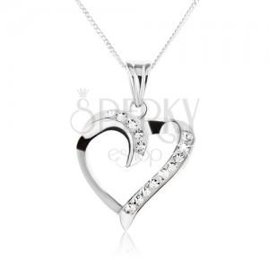 Nyaklánc ezüstből - csavart szívkörvonal cirkóniákkal