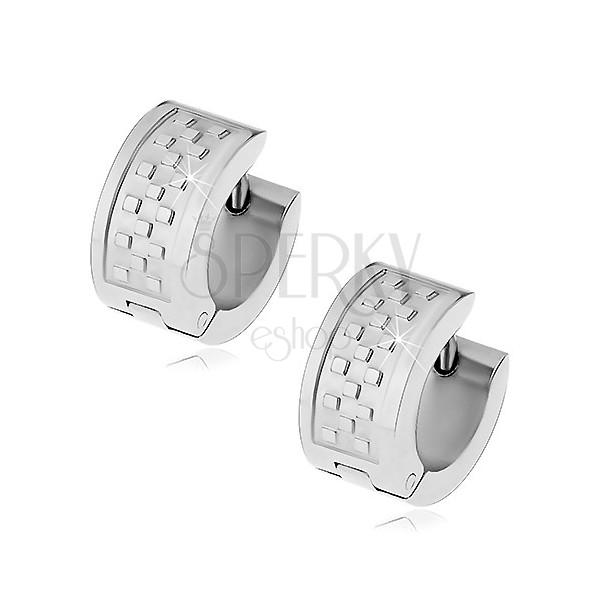 Sebészeti acél fülbevaló ezüst színben, sakktábla motívum