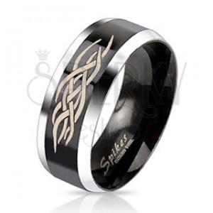 Minőségi acél gyűrű - fekete sáv ornamentumokkal