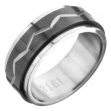 Gyűrű acélból - forgatható fekete sáv, cikk cakk mintázat