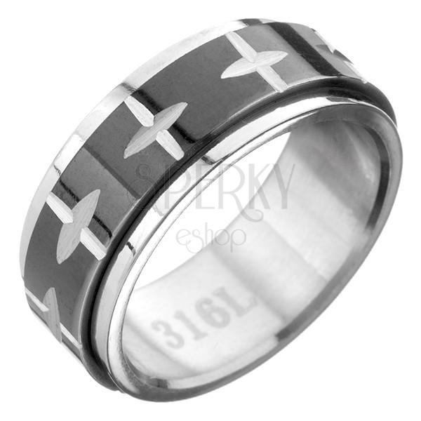 Acél gyűrű, fekete-ezüst kombináció, forgatható sáv és keresztek