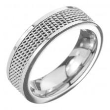 Karikagyűrű nemesacélból - láncos középső sáv, ezüst színben