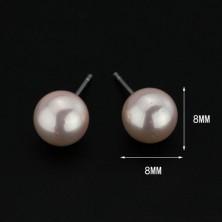 Bedugós ezüst fülbevaló - rózsaszín gyöngyök, 8 mm