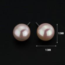 925 ezüst fülbevaló - rózsaszín gyöngyöcskék, 10 mm