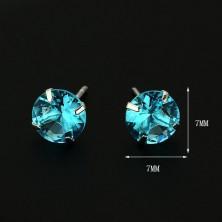 Bedugós ezüst fülbevaló - kerek türkiz cirkónia, 7 mm