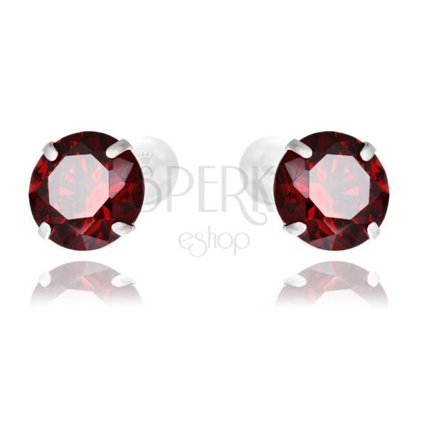 925-ös ezüst fülbevaló - kerek piros cirkónia, 7 mm