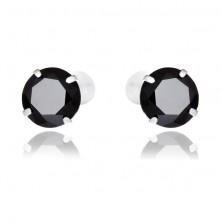 Sterling ezüst fülbevaló - kerek fekete cirkónia, 7 mm