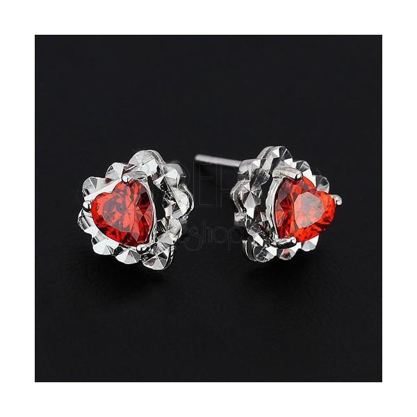 Fülbevaló 925 ezüstből - piros cirkónia szívecske, szív alapon
