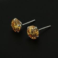Bedugós fülbevaló ezüstből - kerek borostyán cirkónia, 7 mm