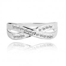 Ezüst gyűrű - keresztezett sávok cirkóniákkal