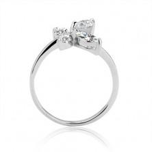 Gyűrű 925 ezüstből - cirkónia pillangó csápokkal