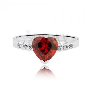 Gyűrű 925 ezüstből - piros cirkónia szív és köves vonal
