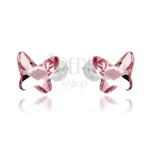 Ezüst fülbevaló - rózsaszínű SWAROVSKI lepke