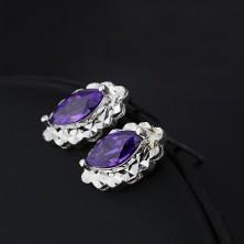 Ezüst fülbevaló - lila könnycsepp, ragyogó ovális alap