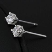 Fülbevaló 925 ezüstből - kerek cirkónia kettős fogatban, 4 mm