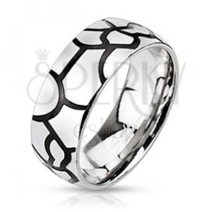 Nemesacél gyűrű - fekete repedés imitáció