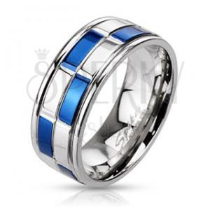 Karikagyűrű acélból - kék és ezüst téglalapok